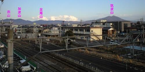下館駅から見る筑波連山