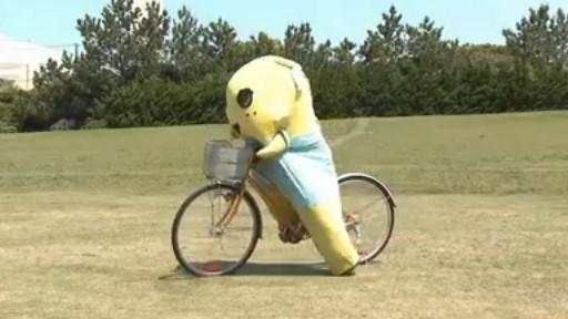 ふなっしー自転車に乗る