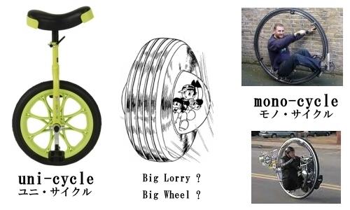 一輪車(ユニ・サイクルとモノ・サイクル)