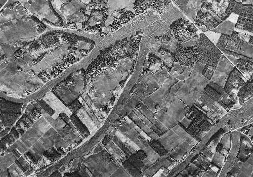 昭和22年の柏市逆井の航空写真