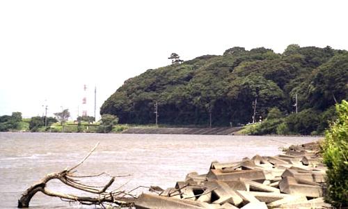 江戸川より国府台を望む(平成)