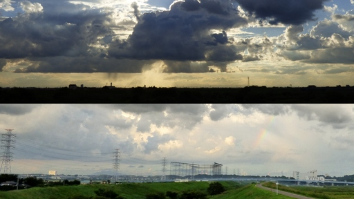 西(越谷市)上空と、東(つくば市)上空対比