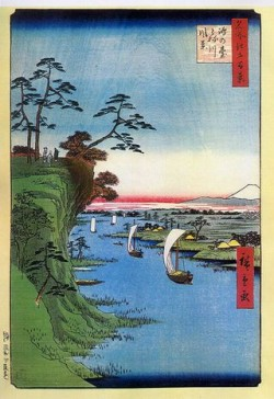 鴻之台とね川風景(広重)