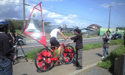 風力自転車の試乗会