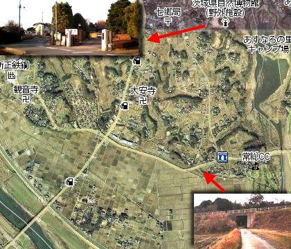 芽吹大橋から茨城自然博物館までの地図