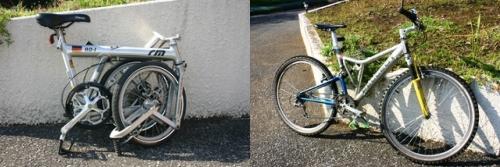 折り畳み自転車とマウンテンバイク