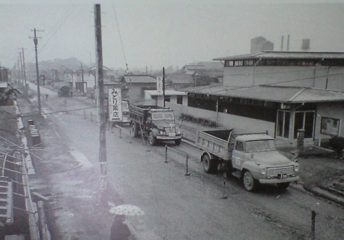 新流山街道と旧郵便局(昭和39年頃)